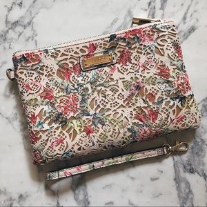 Aldo Pink Floral Laser Cut Clutch with Handstrap